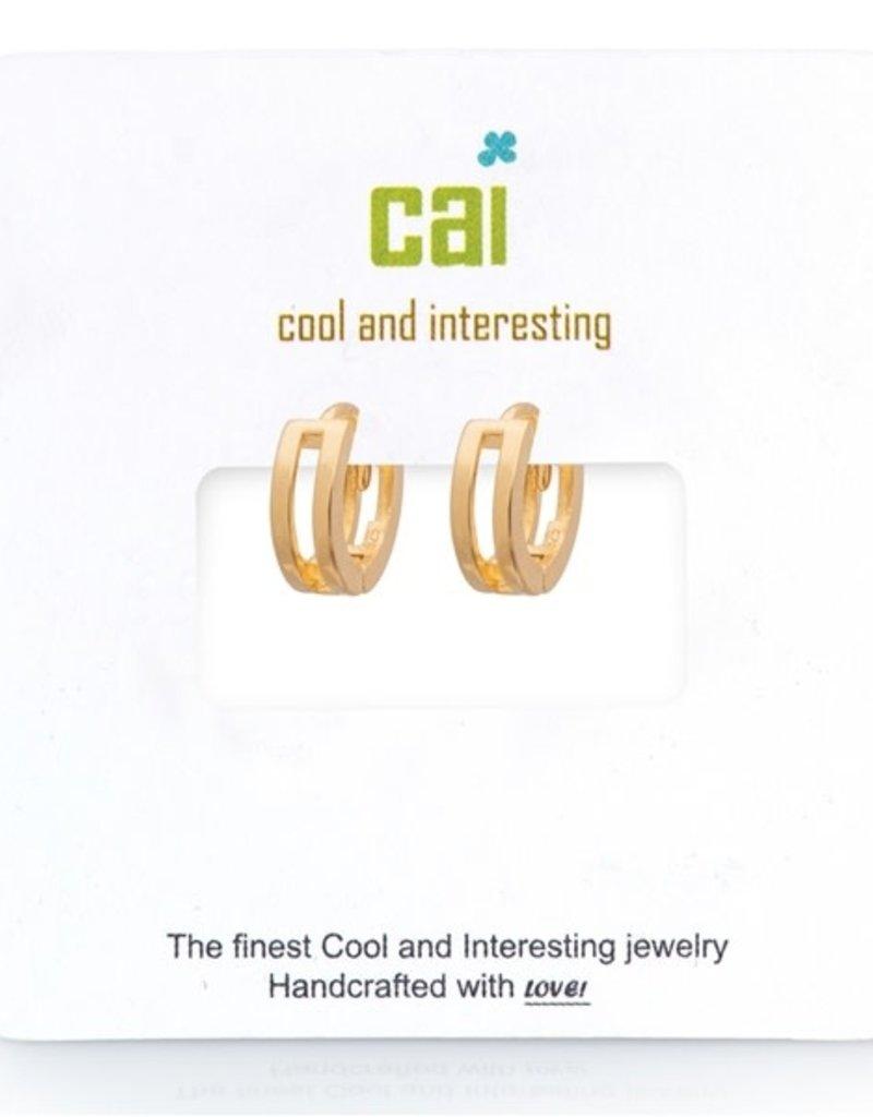 32314 gold plain rectangle center huggie earrings