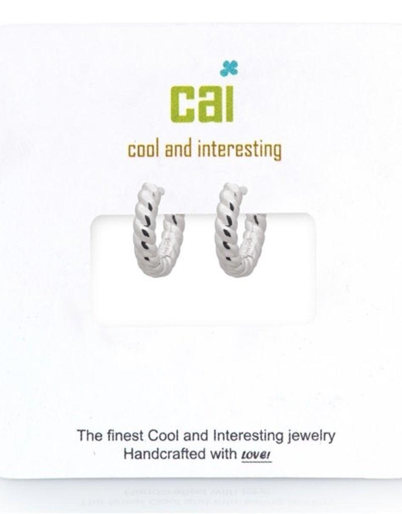 32317 silver plain single twisted huggie earrings