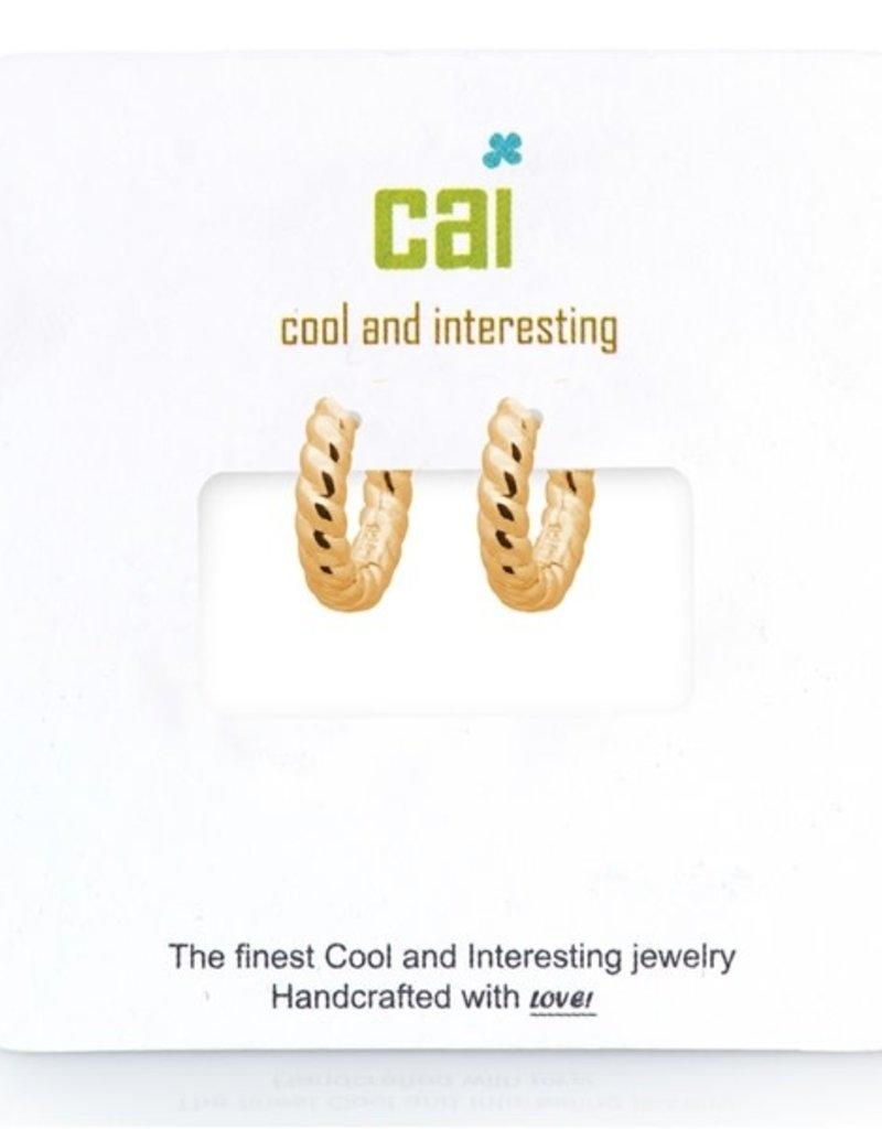 32318 gold plain single twisted huggie earrings