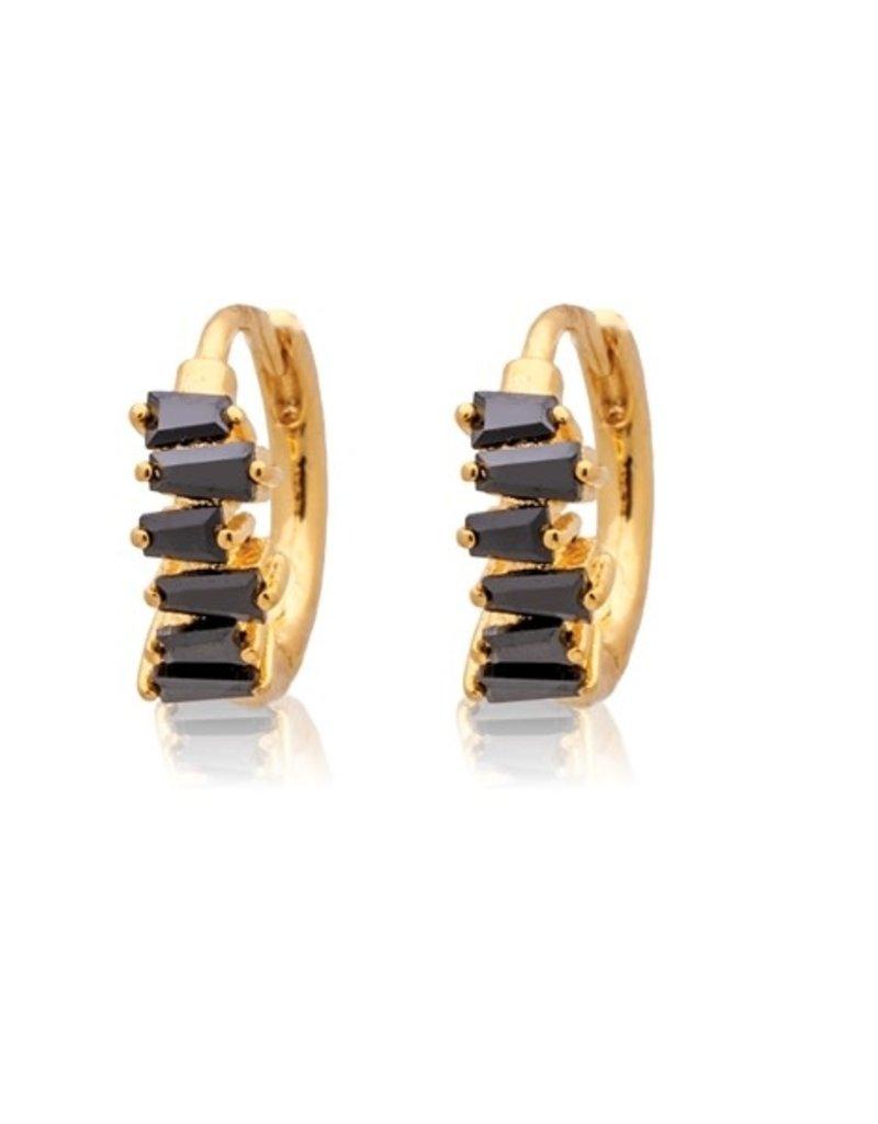 32332 gold black half rectangle stone huggies