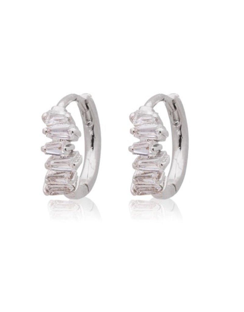 32337 silver crystal half rectangle stone huggies