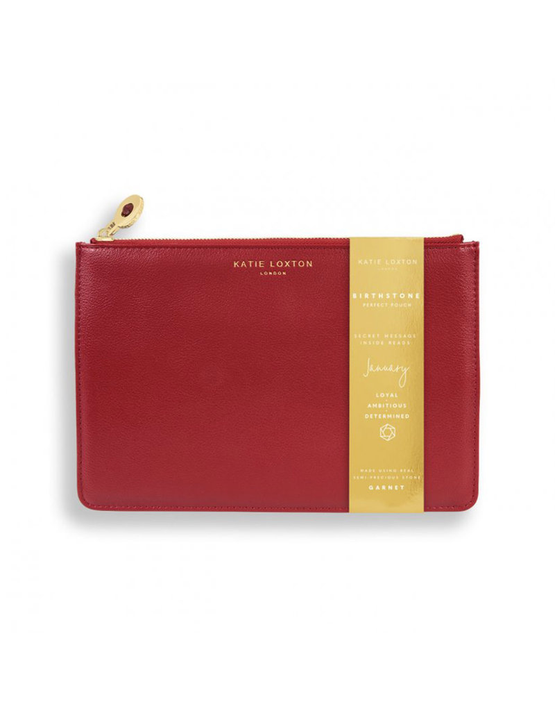 KATIE LOXTON KLB1380 BIRTHSTONE PERFECT POUCH | JANUARY GARNET | DARK RED