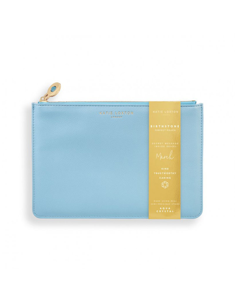 KATIE LOXTON KLB1382 BIRTHSTONE PERFECT POUCH | MARCH AQUA CRYSTAL | BLUE