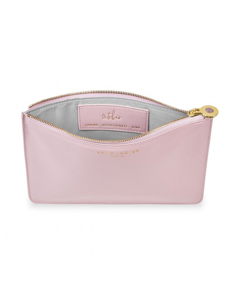 KATIE LOXTON KLB1389 BIRTHSTONE PERFECT POUCH | OCTOBER TOURMALINE | DUSTY PINK