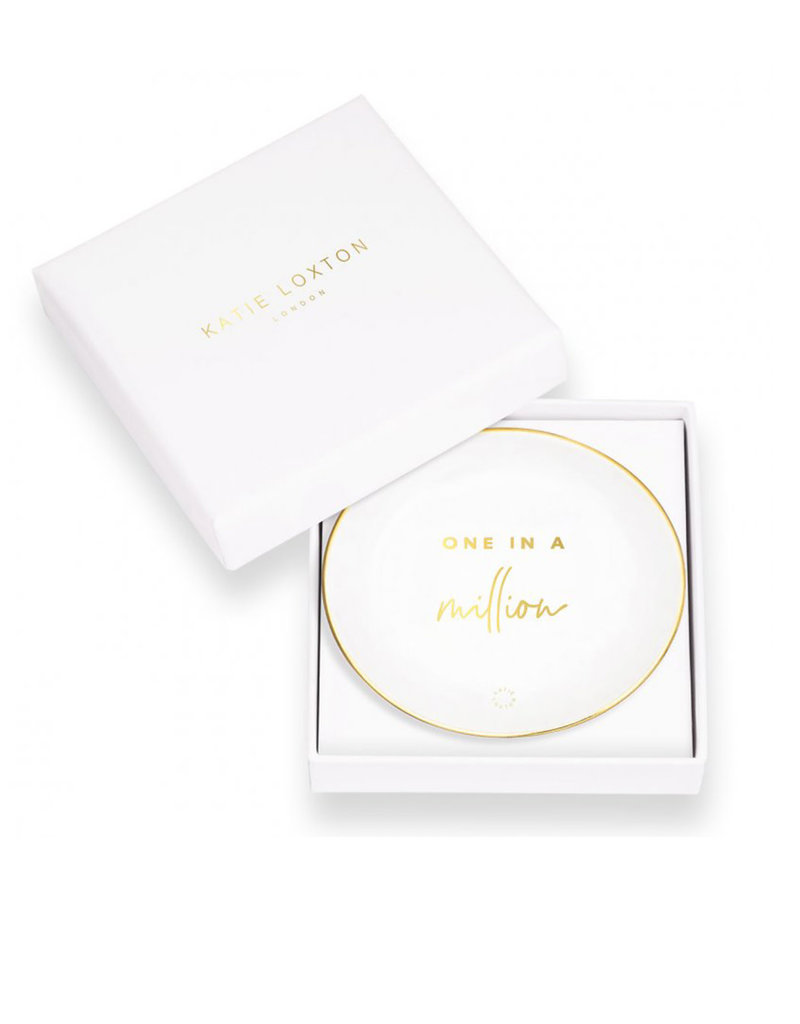 KATIE LOXTON KLHA043 ROUND TRINKET DISH | ONE IN A MILLION | WHITE
