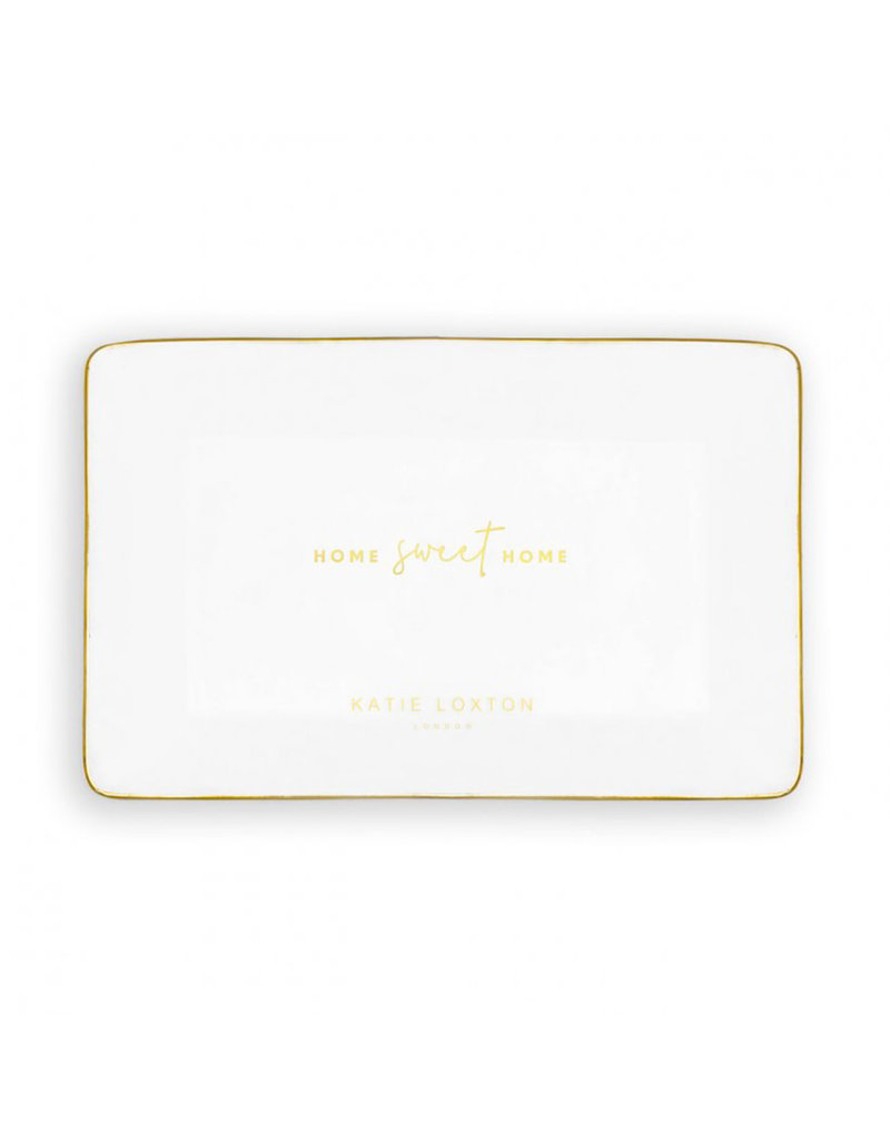 KATIE LOXTON KLHA045 RECTANGLE TRINKET DISH | HOME SWEET HOME | WHITE