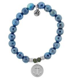 T JAZELLE TJ57100 BLUE AGATE-ANCHOR ROUND