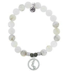 T JAZELLE TJ57131 WHITE CHALCEDONY-ONE STEP AT A TIME