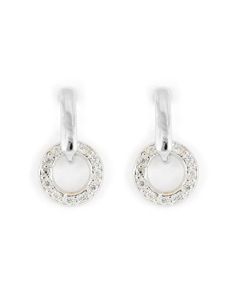 JOHN MEDEIROS M5350-RF00 Diamanté Circle Post Earring Rhodium