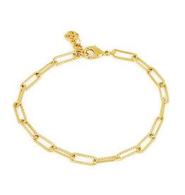 "JOHN MEDEIROS B5331-G002 Diamanté Bracelet Link 8"" Gold"