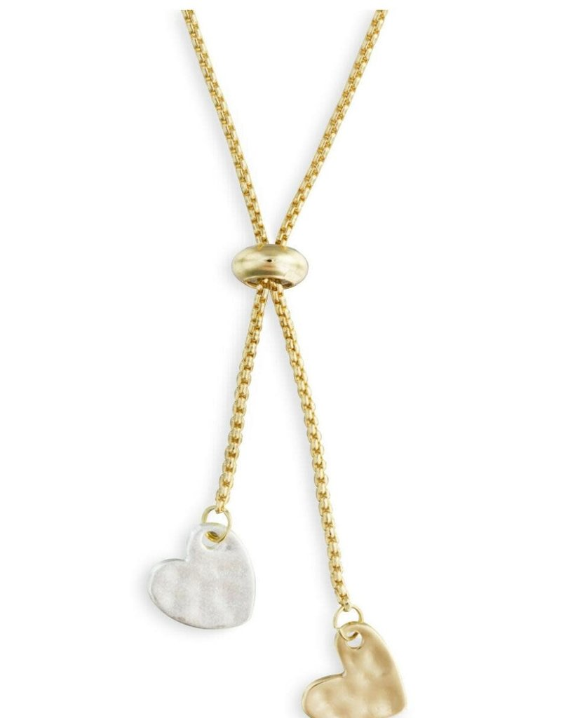 DEMDACO LARIAT CHARM NECKLACE DOUBLE HEART