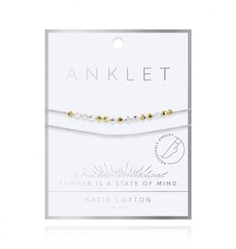 KATIE LOXTON KLJ4237 TWO TONE DAINTY DOUBLE CHAIN ANKLET