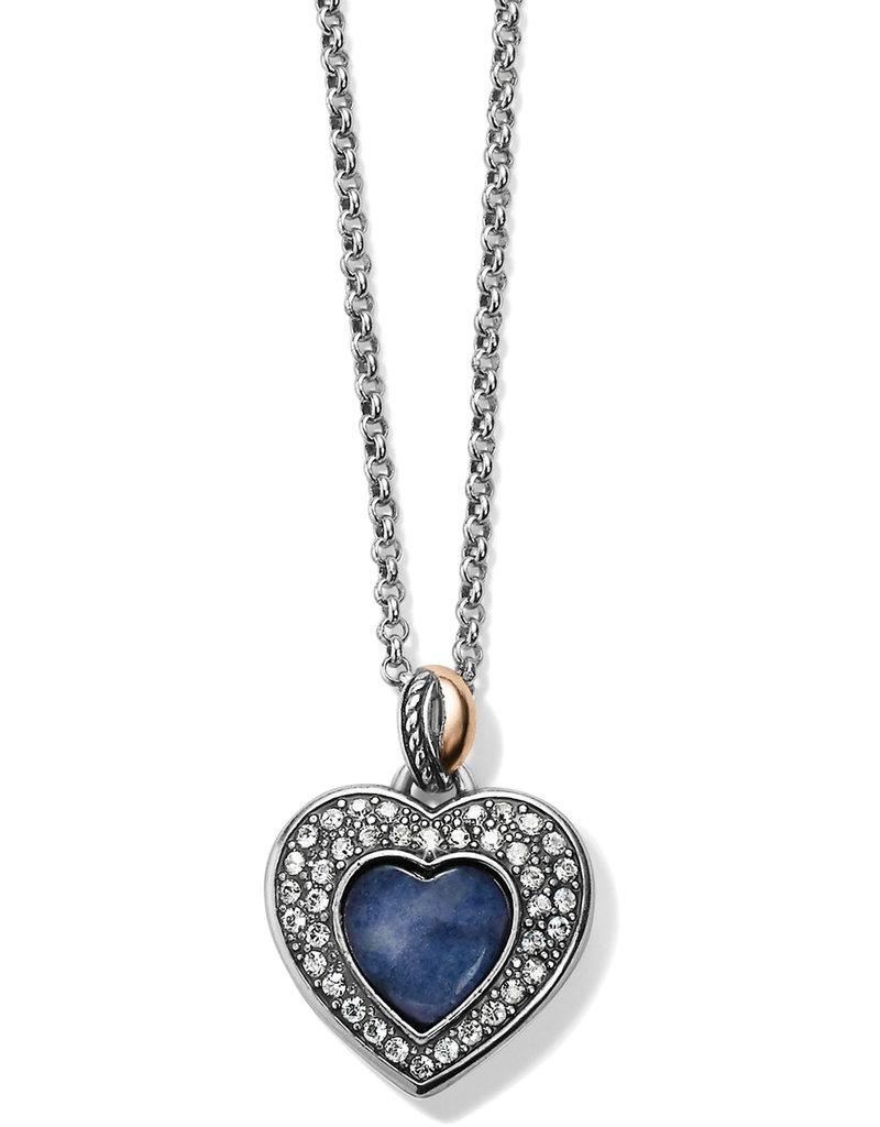 BRIGHTON JM248A Neptune's Rings Brazil Blue Quartz Heart Reversible Necklace