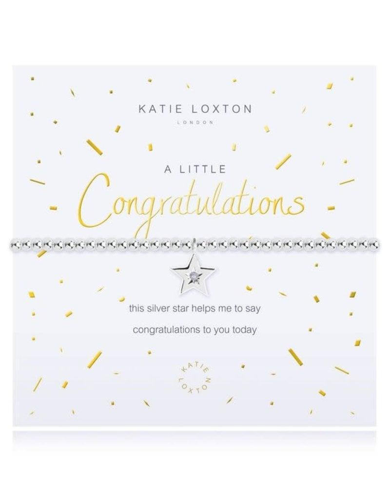 KATIE LOXTON KLJ2699 A LITTLE - CONGRATULATIONS - SILVER- 17.5CM STRETCH