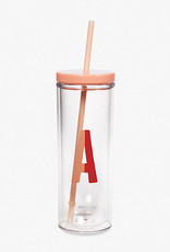 KATE SPADE Initial Tumbler with Straw, Sparks of Joy