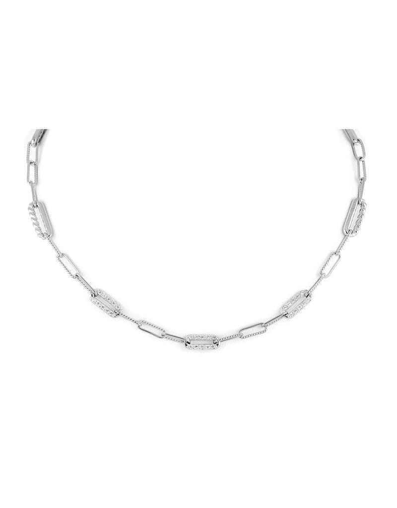 "JOHN MEDEIROS N5357-RF04 Diamanté Necklace Three Station PAVÉ 16-18"" Rhodium"