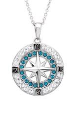 SHANORE Blue Compass Pendant With Aqua Swarovski® Crystals