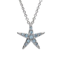 SHANORE SS Small Aqua SW Crystal Star Fish Necklace