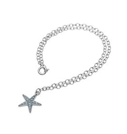 SHANORE SS Star Fish with Aqua Crystals Ankle Bracelet
