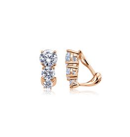 CRISLU 8012103C00CZ 3 STONE POSTLESS EARRINGS FINISHED IN 18KT ROSE GOLD