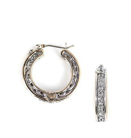 JOHN MEDEIROS G3815-AF00 LATTICE COLLECTION - PALERMO EDITION - TWO TONE PAVÉ CZ SMALL HOOP EARRINGS