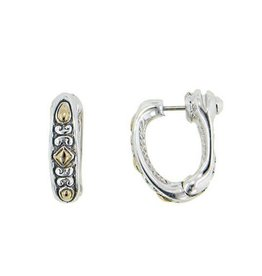 JOHN MEDEIROS G2972-A000 OVAL LINK COLLECTION TWO TONE LARGE SNUGGY EARRINGS