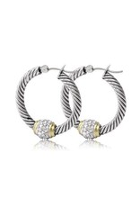 JOHN MEDEIROS G2938-AF00 ANTIQUA PAVÉ TWISTED WIRE HOOP EARRINGS