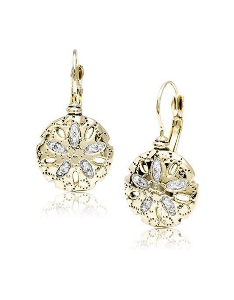JOHN MEDEIROS F3989-AF00 SEASIDE SAND DOLLAR CZ FRENCH WIRE EARRINGS