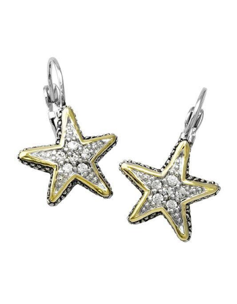 JOHN MEDEIROS F3915-AF00 OCEAN IMAGES SEASIDE COLLECTION PAVÉ STARFISH FISHWIRE EARRINGS