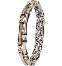 JOHN MEDEIROS B4066-A00L CANIAS COLLECTION TWO ROW HINGED BANGLE BRACELET