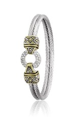 "JOHN MEDEIROS B2818-AF01 7"" ANTIQUA PAVÉ CIRCLE DOUBLE WIRE BRACELET"