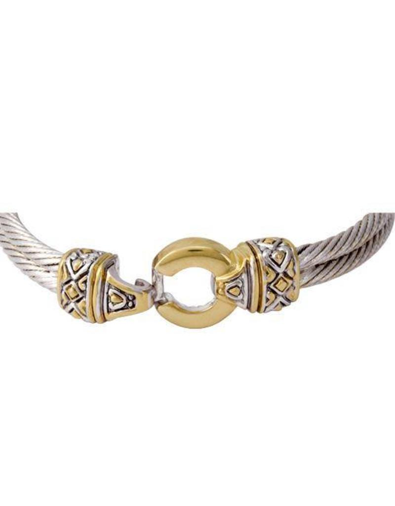 "JOHN MEDEIROS B2816-A000 6.5"" ANTIQUA GOLD CIRCLE DOUBLE WIRE BRACELET"