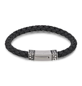 AS-B51 GREEK DESIGN BLACK LEATHER BRACELET