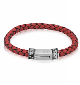 AS-B53 GREEK DESIGN RED LEATHER BRACELET