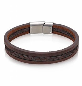 AS-B67 TRIPLE STRAND BROWN LEATHER BRACELET