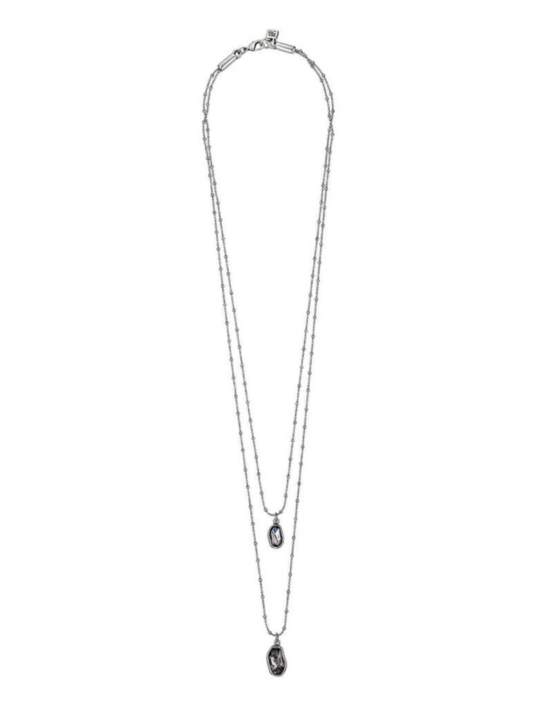 UNO DE 50 COL0814HUMAZU0U NECKLACE IN METAL CLAD WITH SILVER WITH SWAROVSKI® ELEM.