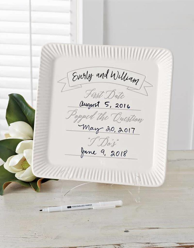 MUD PIE 4075133 CERAMIC COMMEMORATIVE WEDDING PLATE