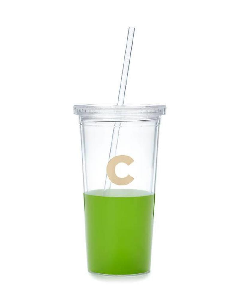 KATE SPADE Dipped Initial Tumbler with Straw