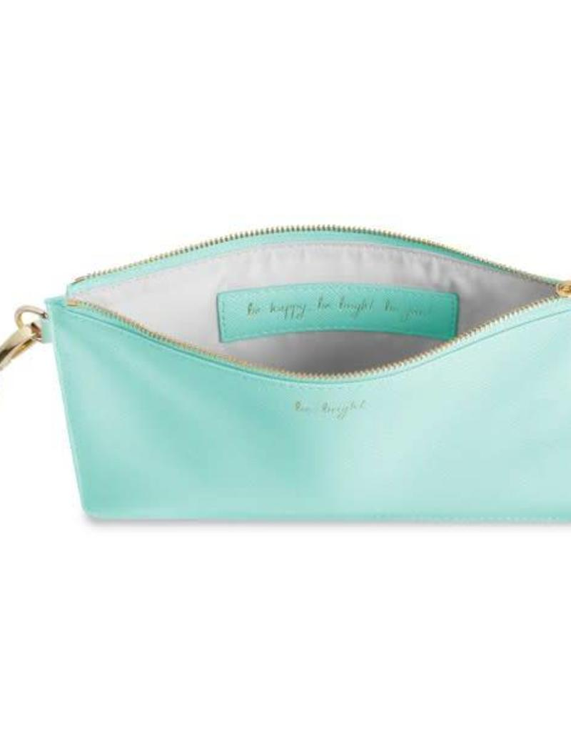 KATIE LOXTON KLB260 SECRET MESSAGE POUCH - BE BRIGHT BE HAPPY BE BRIGHT BE YOU! - MINT - 16X24CM