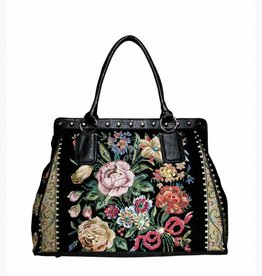 HB1009-BLACK VINTAGE TAPESTRY BAG