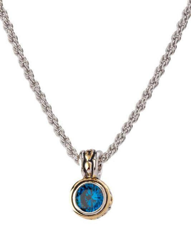 JOHN MEDEIROS K5018-AF05 BEIJOS 7MM CZ BEZEL SET PENDANT NECKLACE
