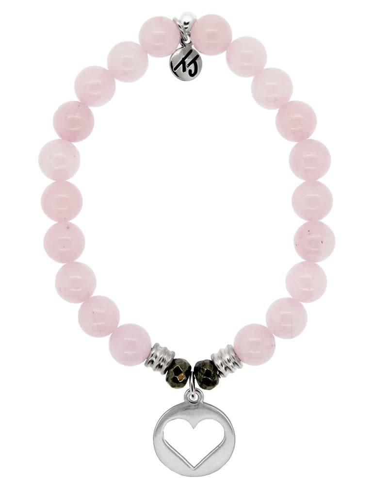 T JAZELLE TJ11455 ROSE QUARTZ-HOLLOW HEART