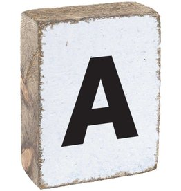 RUSTIC MARLIN Rustic Letter Block - White, Black, Block Font