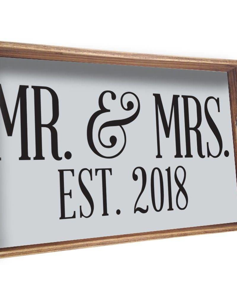 RUSTIC MARLIN Tray Mr. + Mrs. Established - White, Black
