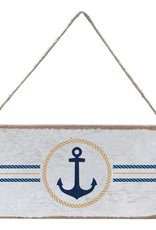 RUSTIC MARLIN Mini Plank Circle Anchor - White, Gold, Navy