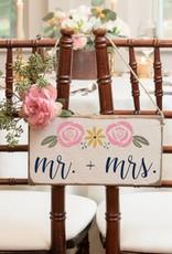 RUSTIC MARLIN Mini Plank Rosettes Mr + Mrs. - White, Navy, Multi