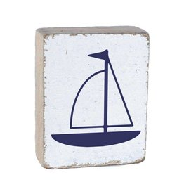 RUSTIC MARLIN Rustic Block Lil' Sailboat - White, Navy