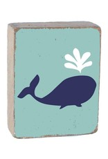 RUSTIC MARLIN Rustic Block Lil' Whale - Sea Glass, Navy, White