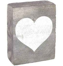 RUSTIC MARLIN Rustic Block Heart - Grey Wash, White