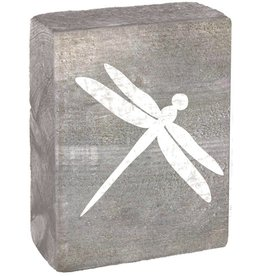RUSTIC MARLIN Rustic Block Dragonfly - Grey Wash,  White